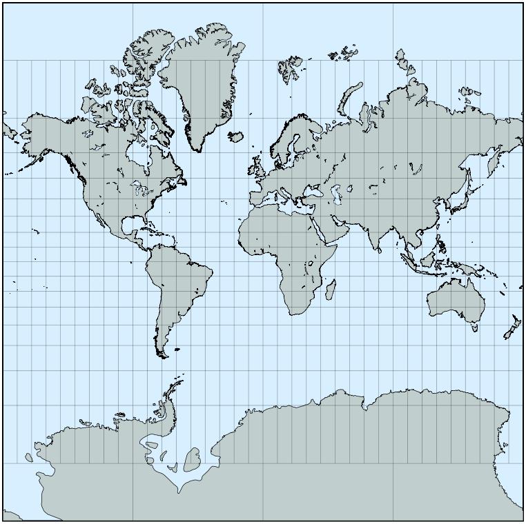 proyección cilíndrica conforme de Mercator