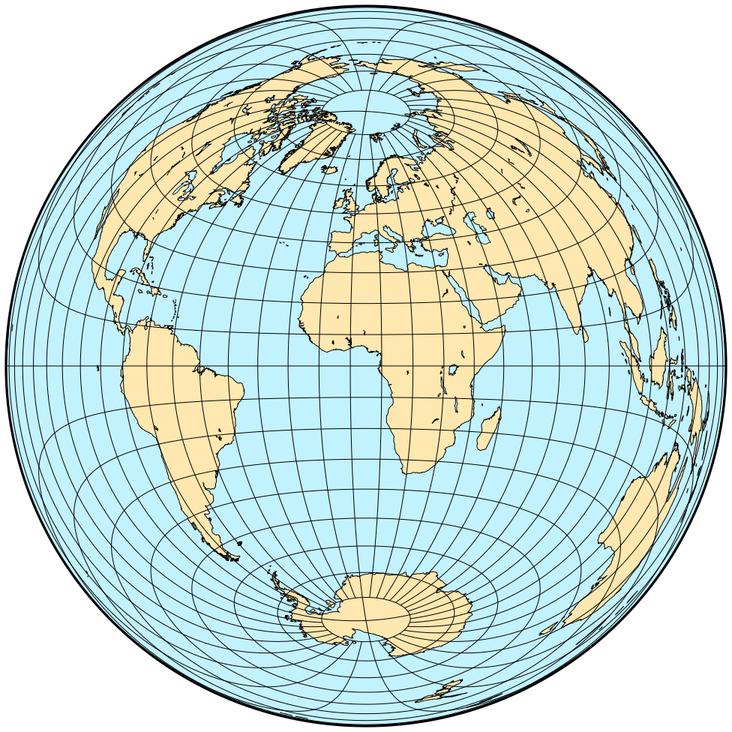 proyección acimutal equidistante(ecuador)